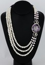 amethyst stalactite slice freshwater pearls wire wrapped sculpted sterling silver cab cabochon pendant necklace jewelry