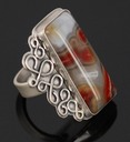 sterling silver crazy lace agate medusa ring