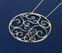 sterling silver large round filigree necklace