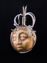 ceramic face tile wire wrapped sculpted sterling silver cab cabochon pendant jewelry