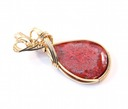 red horn coral wire wrapped sculpted 14k gold filled cab cabochon pendant jewelry