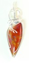 orange pipeline canyon agate wire wrapped sculpted sterling silver cab cabochon pendant jewelry