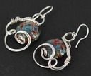 blue red lampwork borosilicate glass earrings wire wrapped sculpted sterling silver cab cabochon jewelry