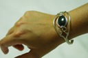 jade bangle wire wrapped sculpted sterling silver cab cabochon cuff jewelry