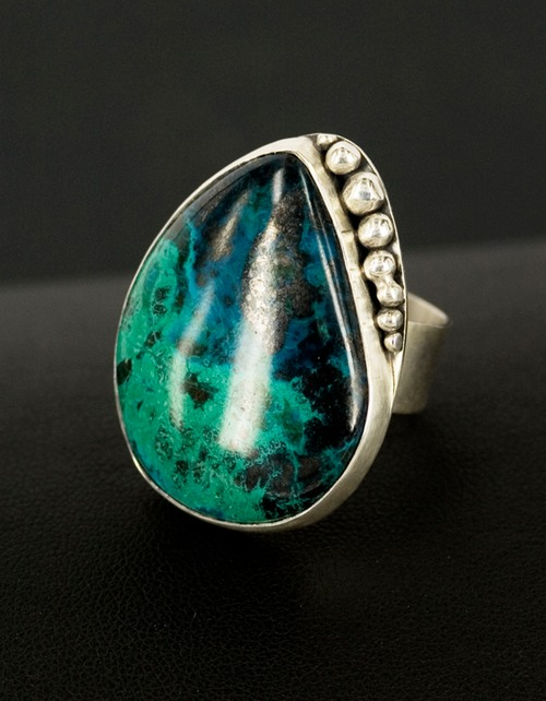 malachite chrysocolla granulated sterling silver ring