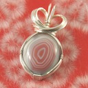 Pink queensland agate wire wrapped sculpted sterling silver cab cabochon pendant jewelry