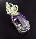 faceted ametrine wire wrapped sculpted sterling silver cab cabochon pendant jewelry