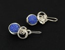 blueberry azurite wire wrapped sculpted sterling silver cab cabochon jewelry earrings