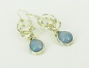 blue jade wire wrapped sculpted sterling silver cab cabochon earrings jewelry