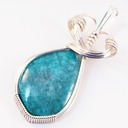 gel chrysocolla wire wrapped sculpted sterling silver cab cabochon pendant jewelry