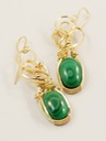 malachite wire wrapped sculpted 14k gold filled cab cabochon earrings jewelry