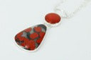 poppy jasper and red horn coral sterling silver necklace