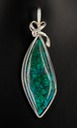 malachite chrysocolla wire wrapped sculpted sterling silver cab cabochon pendant jewelry