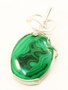 malachite wire wrapped sculpted sterling silver cab cabochon pendant jewelry