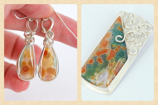 ocean jasper wire wrapped earrings and silversmithed pendant