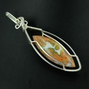 ocean jasper wire wrapped sculpted sterling silver cab cabochon pendant jewelry