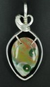 carved ocean jasper fish wire wrapped sculpted sterling silver cab cabochon pendant jewelry