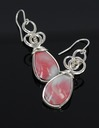 pink queensland agate wire wrapped sculpted sterling silver cab cabochon earrings jewelry