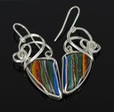 rainbow cal silica wire wrapped sculpted sterling silver cab cabochon earrings jewelry