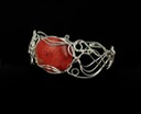 red horn coral wire wrapped sculpted sterling silver cab cabochon bracelet bangle jewelry