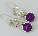 sugilite wire wrapped sculpted sterling silver cab cabochon jewelry earrings