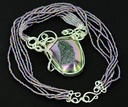 titanium druzy glass seed bead necklace wire wrapped sculpted sterling silver cab cabochon pendant jewelry