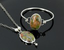 unakite bangle and sterling silver necklace