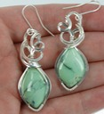 variscite wire wrapped sculpted sterling silver cab cabochon earrings jewelry