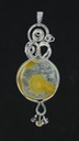 yellow queensland agate wire wrapped sculpted sterling silver cab cabochon pendant jewelry